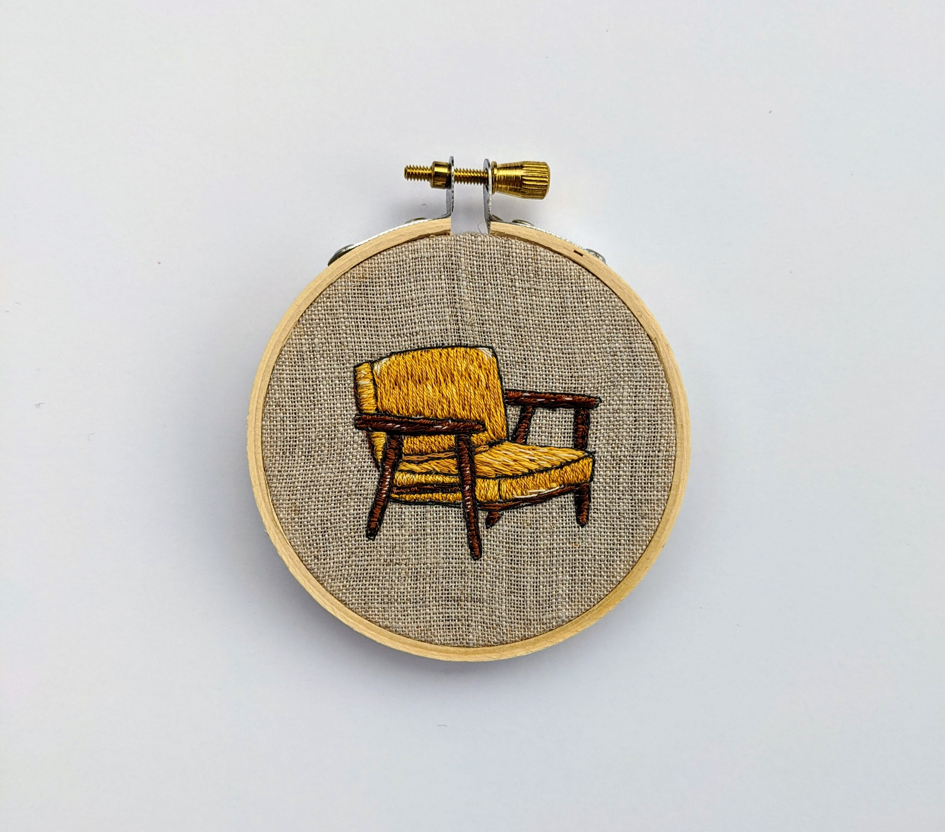 Cigar Chair with Mustard Upholstery