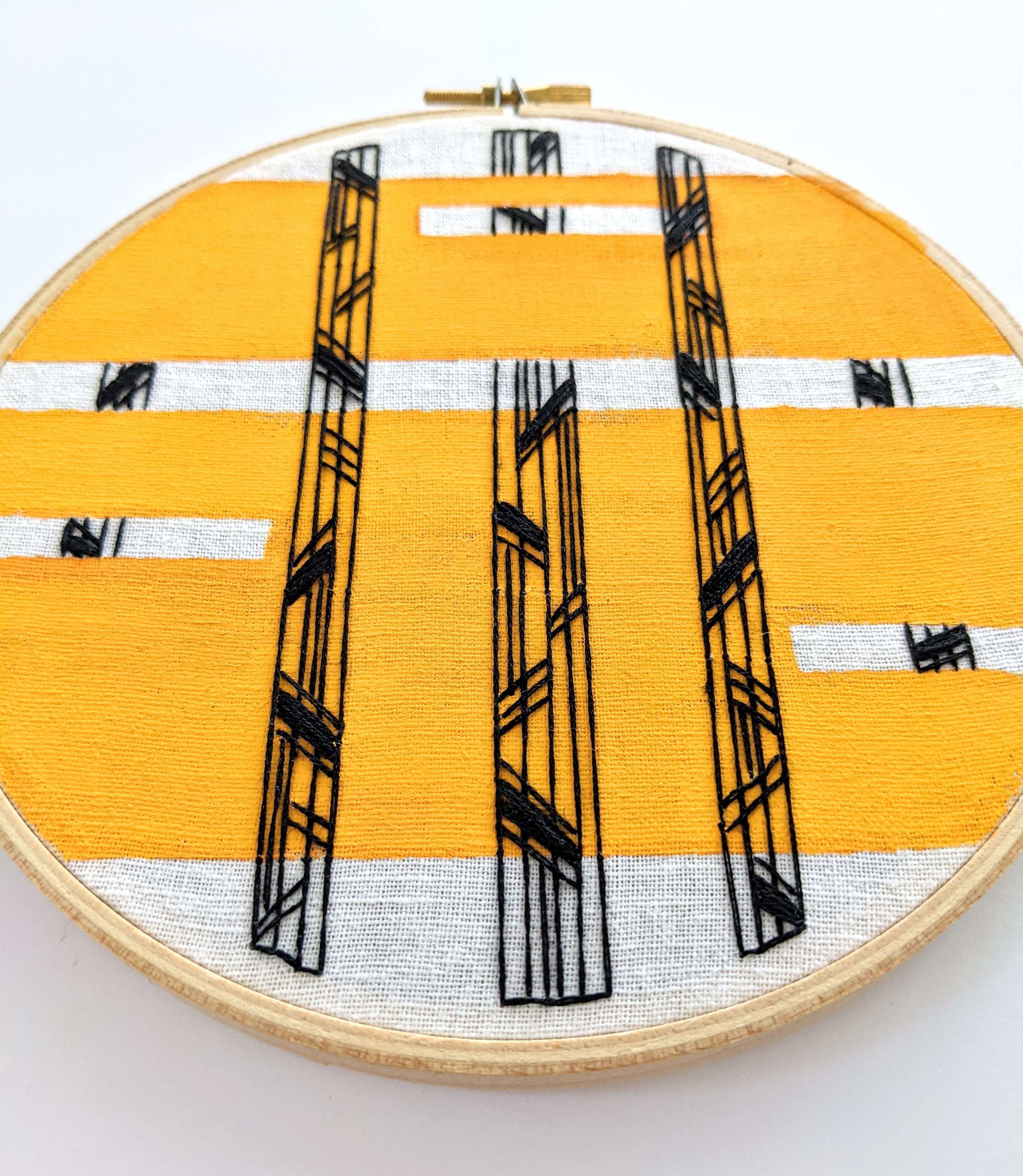 Black and Mustard Vertical Abstract Hand Embroidery